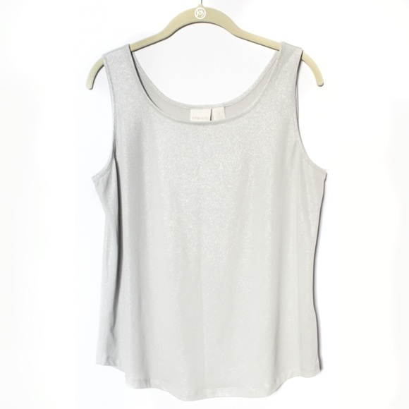 239bc8442dbd9 Chico s Tops - Chico s Silver Shimmer Cami   Tank ...